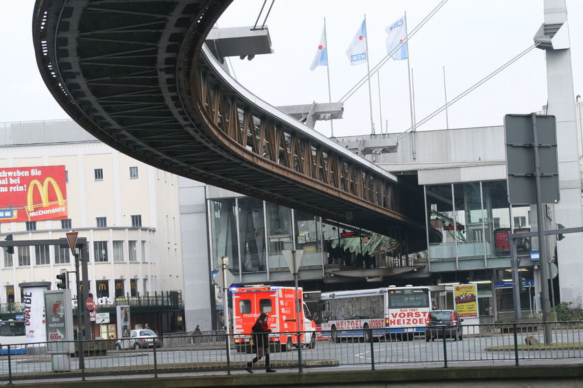 cable railway Wuppertal Architecture Building Exterior Built Structure Cable Railway City Day Flag Land Vehicle Mode Of Transport Outdoors Patriotism Real People Sky Transportation Wuppertal