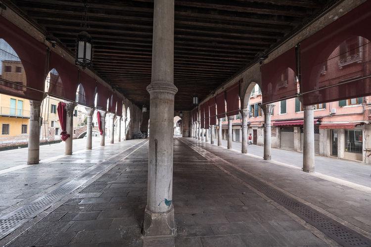 View of empty railroad station platform