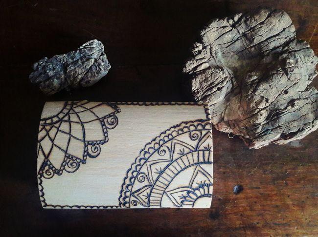 Art And Craft No People Indoors  Day Close-up Wood Pyrography Mandala Art Mandala Handmade
