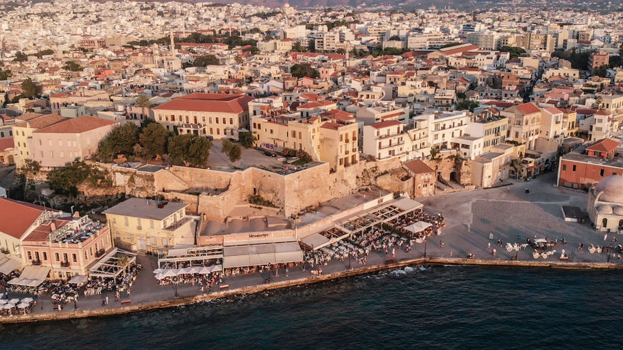 High angle view of buildings in chania crete