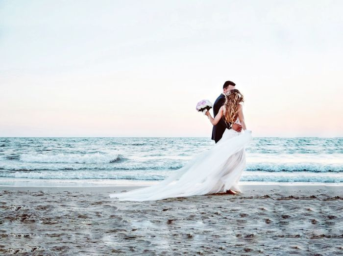 Wedding Photography Wedding Wedding Dress Wedding Day Sea Sea And Sky Wedding Bride Bridegroom Wedding Dress Young Women Sea Men Beach Full Length Women Water Falling In Love