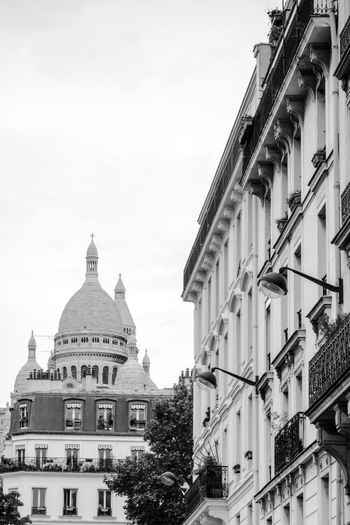 Architecture Black And White Building Exterior Building Story Built Structure City City Life Clear Sky Day Development Exterior High Section History Landmark Monochrome No People Outdoors Sacre Coeur Sacred Sacré Coeur, Paris Sky Spire  Tall - High Tourism Travel Destinations