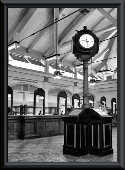 I've always loved how B&W shots can make even a mundane object look much more interesting Classic DisneyWorld Framed Old School Orlando Florida Architectural Column Architecture Black And White Photography Built Structure Clock Clock Face Day Family Fun Indoors  Minute Hand No People Registration Resort Time Vacation