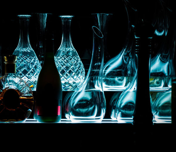 Dark Light Reflection Alcohol Bar Bottle Brandy Close-up Crystal Cut Glass Bottle Cut Glass Vase Decanter Decanter And Glassware Drink Drinking Glass Indoors  Light And Shadow No People Water
