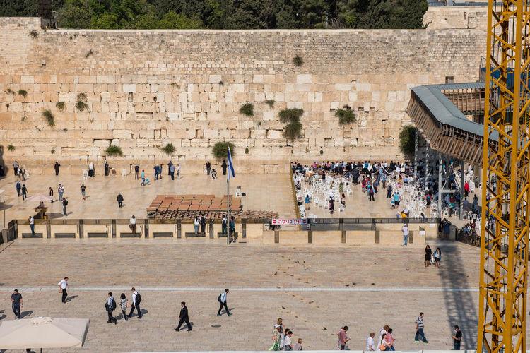 High angle view of people at wailing wall