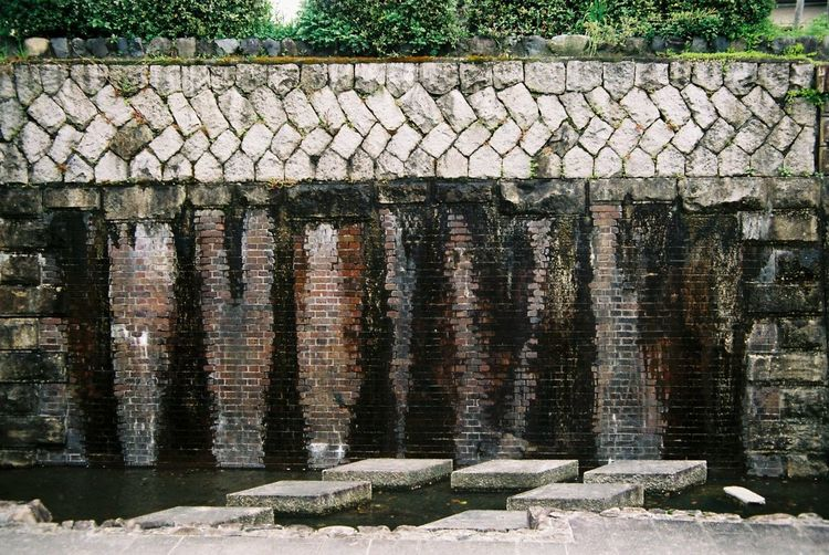 Old Brick Wall Horikawacanal Walking Path Kyoto Japan Film Photography Tefnon 35-70 Pentax KM Fuji C200 3XSPUnity