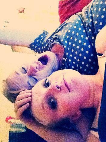 sleeepy mother and sleepy daughter