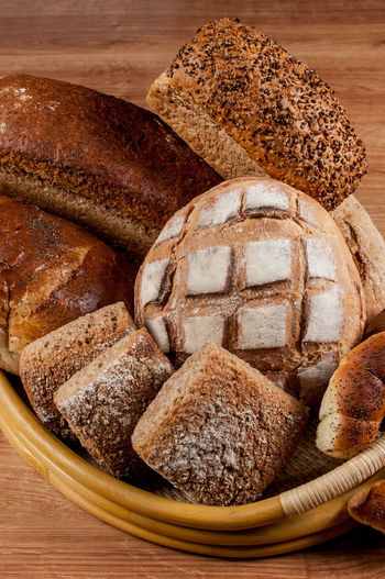 High angle view of bread in basket on table