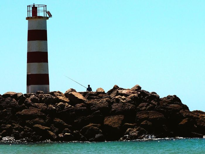 Fishing Pole Fishing Algarve Sea Clear Sky Lighthouse