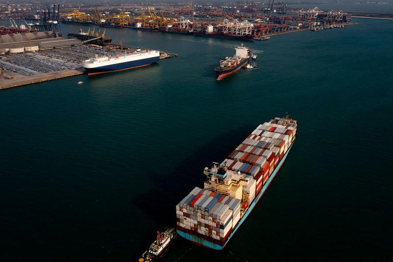 High angle view of ship at harbor