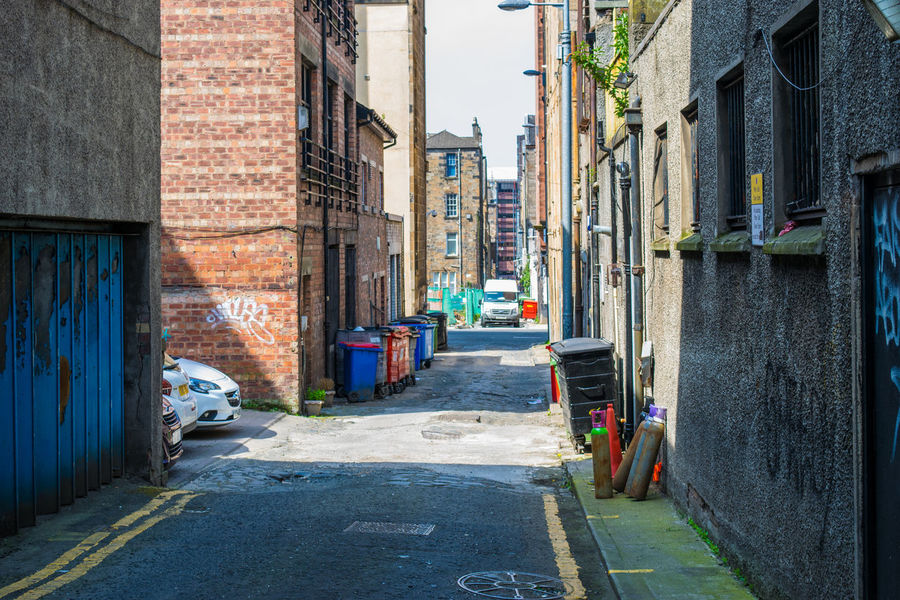 Alley Alleyway Architecture Back Street Brickwork  Buildings City Day Glasgow  Litter Markings No People Path Places I've Been Road Road Less Travelled Rubbish Bin Run Down Scotland Service Area Street Trash Urban Wheely Bins