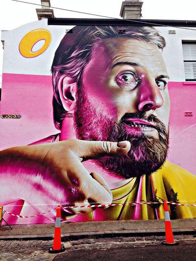 Melbourne Graffiti mural by Smug (self-portrait)