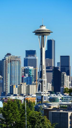 Space Needle Sky Blue Seattle City Skyline Portrait Beautiful