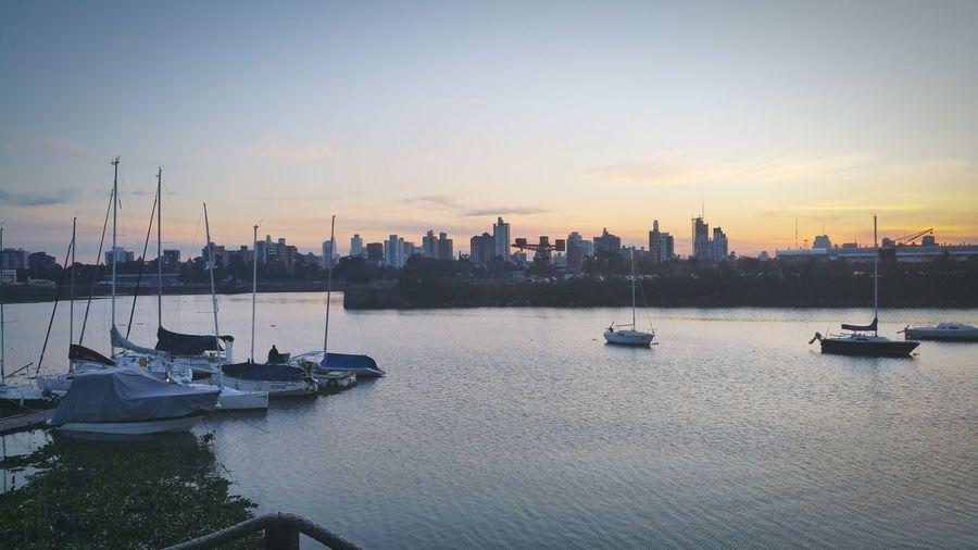 Urban Skyline Harbor Taking Photos Boats⛵️ City Skyline