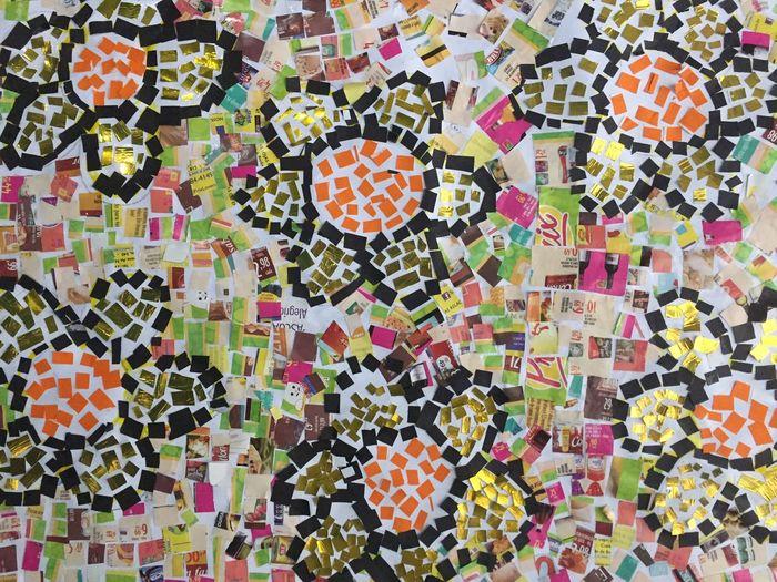 Recorte e colagem Child Drawing Childlike Children's Art Drawing Flowers Multi Colored Paper Flowers Scrap Art Scrap Drawing