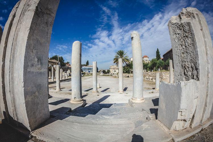 Roman agora against blue sky