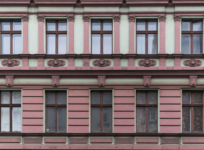 Architectural Column Architecture Building Exterior Built Structure Day Façade Facade Building Full Frame Historic Low Angle View Neukölln Old Outdoors Pink Color Repetition Window