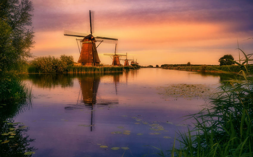 Remo SCarfo Amsterdam Windmills Sunset Kinderdijk Sky Water Reflection Fuel And Power Generation Environmental Conservation Turbine Built Structure Cloud - Sky Renewable Energy Alternative Energy Wind Turbine Plant Architecture Wind Power Traditional Windmill Beauty In Nature Nature Environment No People Outdoors