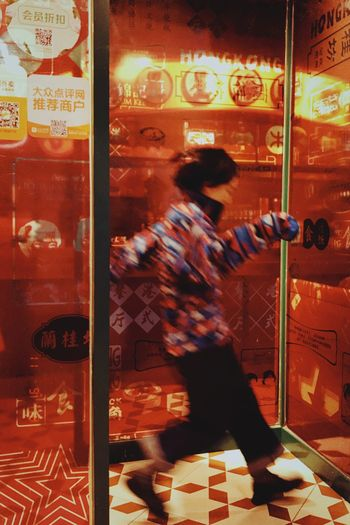 Hongkongrestaurant Retro Colors Red PhonePhotography Blurred Motion Motion Women