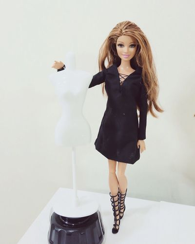 Little black dress Indoors  Young Women Person Long Hair Leisure Activity Lifestyles Casual Clothing Young Adult Holding Beauty Portrait Barbiecollector Barbiephotography Studio Shot Barbiestyle Doll Barbie Doll Photography
