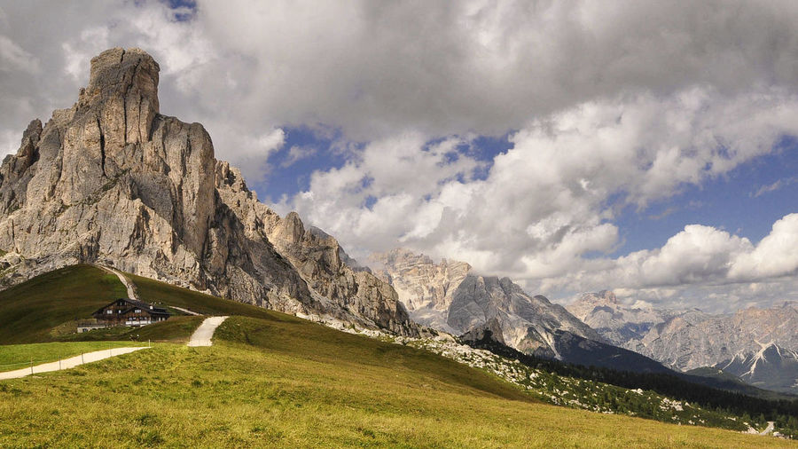 Beauty In Nature Cloud - Sky Cloudy Dolomiten Dolomites Dolomites, Italy Dolomiti Giàu Grass Landscape Majestic Mountain Mountain Range No People Non-urban Scene Passo Giau Travel Destinations The Great Outdoors With Adobe The Great Outdoors - 2016 EyeEm Awards