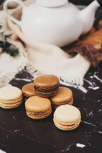 Food And Drink Food Sweet Food Baked Cookie Freshness Still Life Indoors  Sweet No People Close-up Ready-to-eat Temptation Dessert Table Drink Refreshment Cake Focus On Foreground Snack Teapot Tray Macarons Macaroon French Food