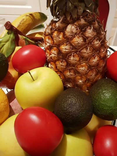 Colourful Healthy Food: Fresh Pineapple, apples, tomatoes, etc. ... Fruit Vegetables Pineapple Apples Tomatoes Still Life Healthy Eating Healthy Healthy Food Multi Colored Red Variation Close-up Food And Drink