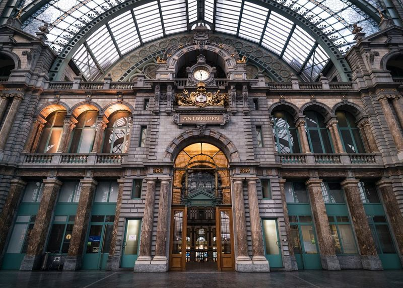 It's time Architecturelovers Clock Antwerp Antwerpen Centraal Antwerpen Window Architecture Indoors  History Arch Travel Destinations Built Structure