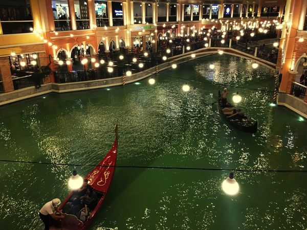 Modern and Vintage meet Venice Canals Illuminated Night Real People Water Architecture Built Structure