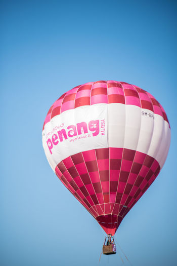Penang Hot Air Balloon Blue Sky Hot Air Balloon Balloon Clear Sky Multi Colored Mid-air Transportation Nature No People Adventure Red Air Vehicle Low Angle View Copy Space Colored Background Flying Blue Background Pattern Pink Color
