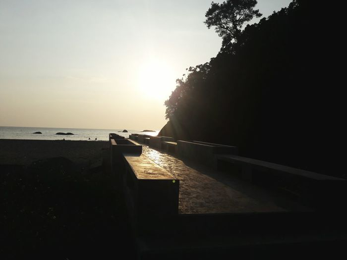 ☺ Sea Mountain Beach Nature Brige Sunset Kaolak Thailand Water Sea Beach Sunset Sky Horizon Over Water