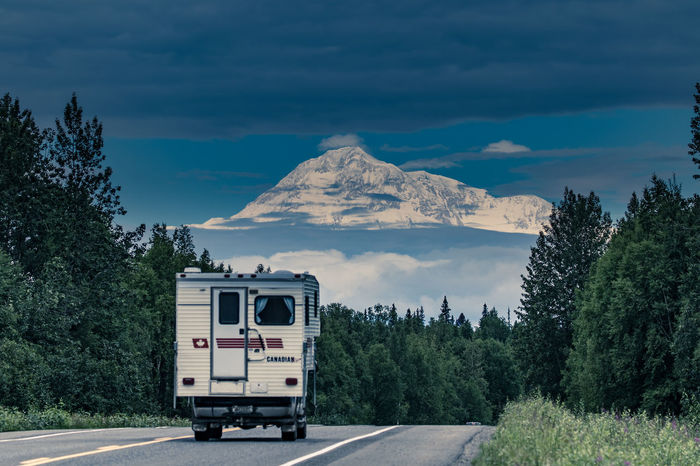 Mt McKinley Transportation Road Sky Tree Day Outdoors No People Mountain Landscapes Scenics Tree Landscape Cloud - Sky Nature Beauty In Nature Travel Alaska Alaskan Nature
