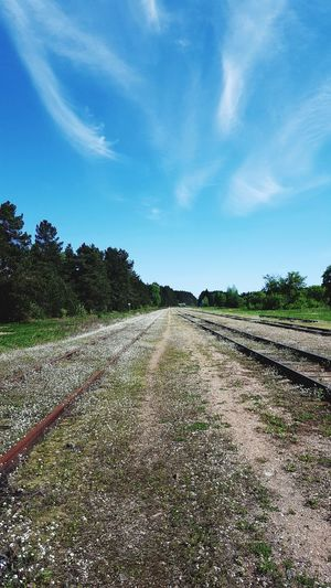 Village Life Railroad Track Railway Railway Track Tree Rural Scene Field Sky Landscape Cloud - Sky