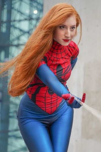 Spidergirl Cosplayer Cosplay Nycc2018 NYCC Spidergirl One Person Redhead Three Quarter Length Lifestyles Young Women Hair Women Red Leisure Activity Focus On Foreground Long Hair Portrait Hairstyle Beautiful Woman