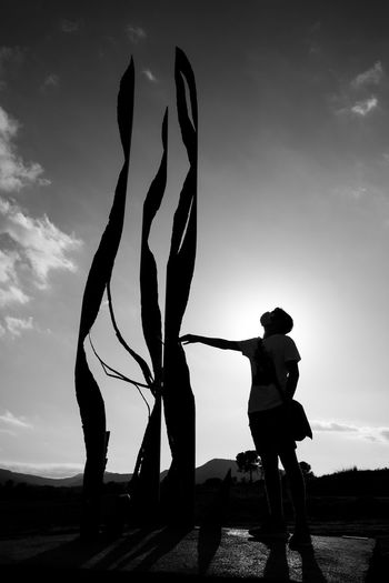 Rear view of silhouette people standing on land against sky