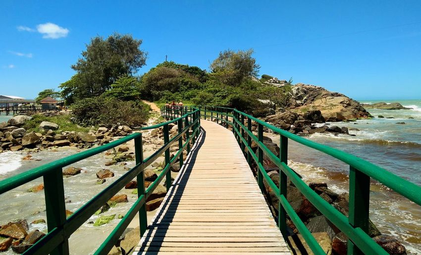 Footbridge amidst trees against clear blue sky