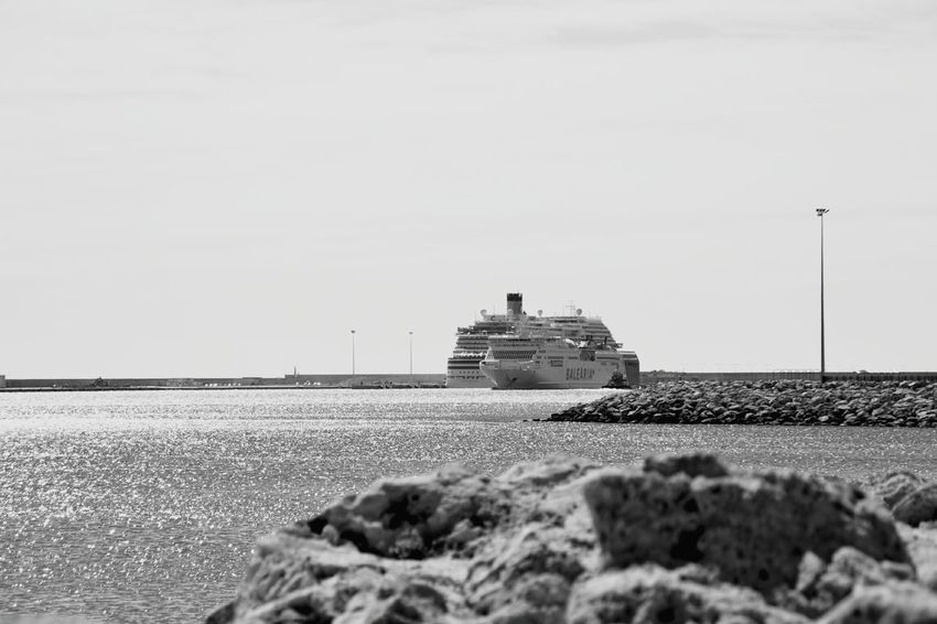 Sea Nautical Vessel Sky Water No People Sailing Ship Travel Tourist Tourists Ship Ships Ferry Boat Ferryboat Ferry Sailing Tourism Two Ships Cruise Cruise Ship Black And White Collection  Blackandwhitephotography Blackandwhite Photography Black & White Black And White Blackandwhite