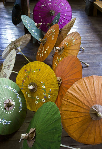 Traditional Myanmar colorful umbrellas Crafts Objects Parasols Burma Burmese Colorful Colorful Umbrella Colorful Umbrellas Craftmanship Group Group Of Objects Handicraft Myanmar Myanmar Umbrellas Object Parasol Sunshade Traditional Umbrella Umbrellas