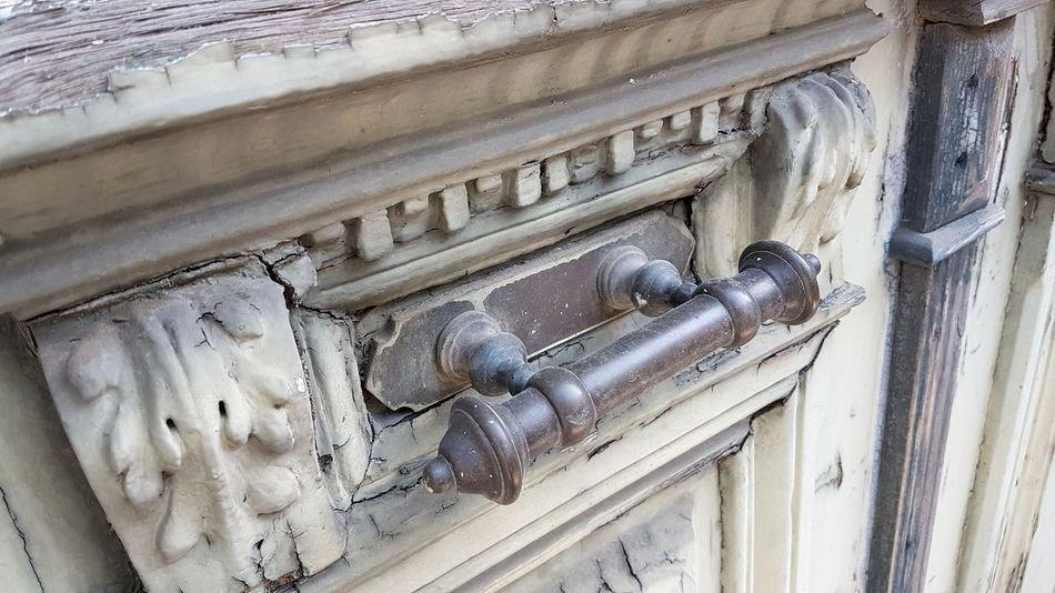 Door Entrance Wooden Old Vintage Ruined Damaged Handle Metallic Communication Full Frame Text Door Handle Closed Closed Door Deterioration Run-down Abandoned Weathered