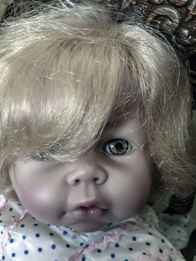 Vintage Doll. Doll Babyhood Child Childhood Close-up Cute Hairstyle Headshot Indoors  Innocence Looking At Camera Mouth Open One Person Portrait Toddler  Toy Vintage Young