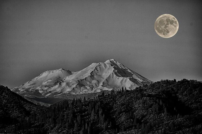 Moon & Mount Shasta Northern California Nature_collection Mount Shasta Moon Scenics - Nature Night Sky Full Moon Beauty In Nature Mountain Nature Astronomy Winter Landscape