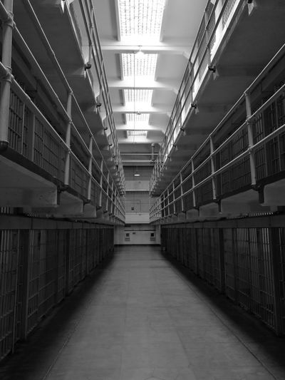 Alcatraz Alcatraz Island Prison Aisle Cellblock Blackandwhite Monochrome Monochrome Photography Huawei Leica