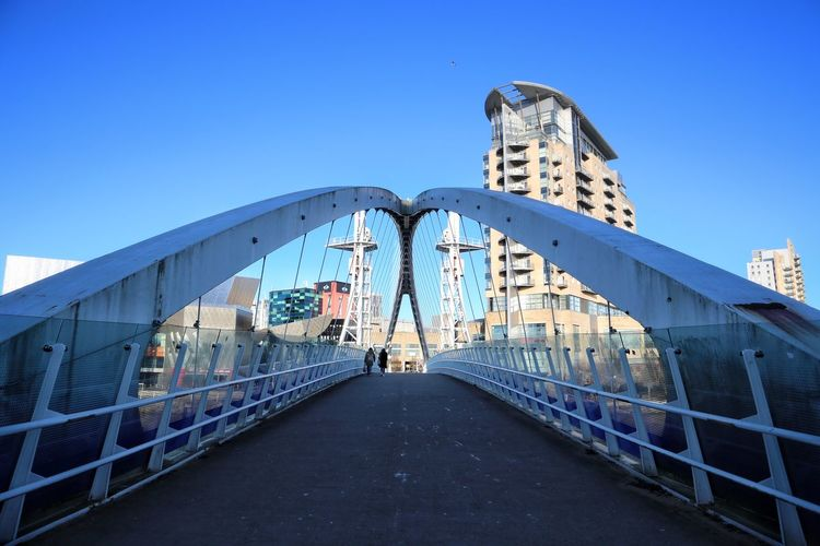 Salford Quays Salford Quays Manchester Bridge - Man Made Structure Millenium Bridge Architecture Built Structure Sky Building Exterior Direction The Way Forward Clear Sky Nature City Blue Day Transportation Bridge Connection No People Outdoors Diminishing Perspective Building Copy Space Modern
