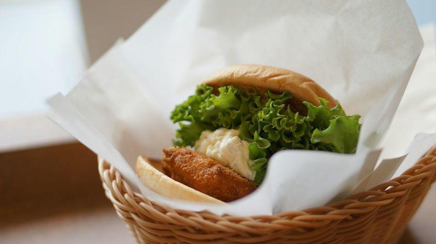 Close-up of hamburger in basket