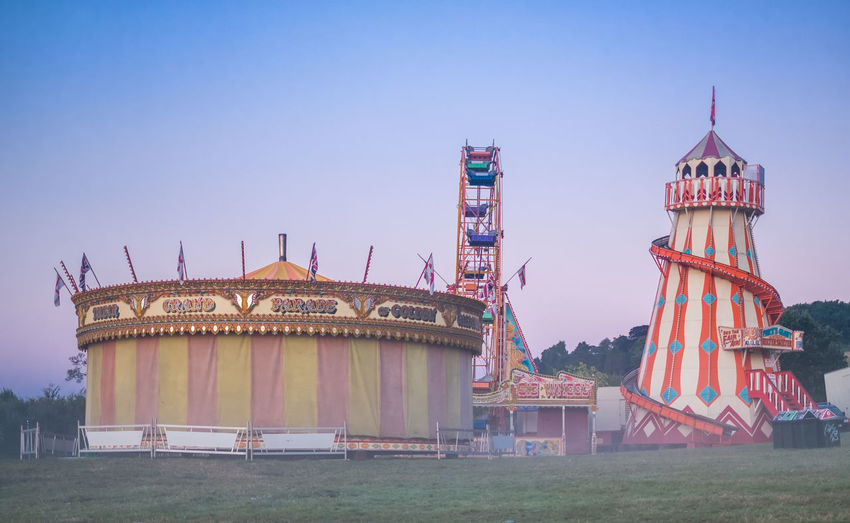Built Structure Dawn Day Fairground Ferris Wheel Helter-skelter Mist No People