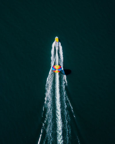 Aerial view of boat on sea