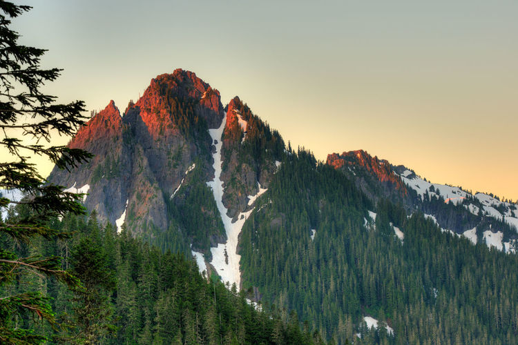 Scenic view of trees on mountains against clear sky during sunset