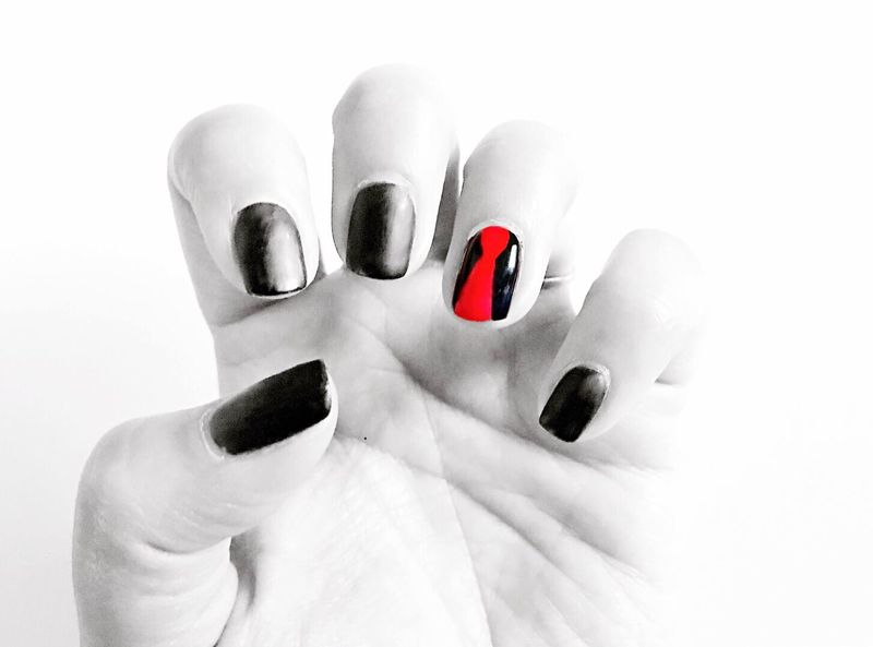 Green Day inspired nails for BST Hyde Park in London. Roll on Saturday! Human Body Part Human Hand Human Finger White Background Studio Shot Nail Polish One Person Close-up Nail Art Fingernail Red Manicure Indoors  Adult People Adults Only Day Green Day Music Festival Punk Red Tie Matte Black Red
