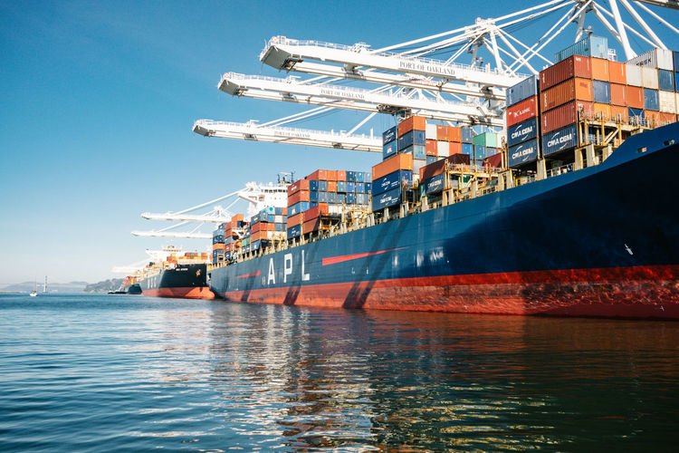 Shipping Boats Water Freight Transportation Shipping  Nautical Vessel Transportation Industry Cargo Container Ship Business Architecture Commercial Dock Container Mode Of Transportation Machinery Pier Harbor Sea Container Ship Crane - Construction Machinery Outdoors No People Busy