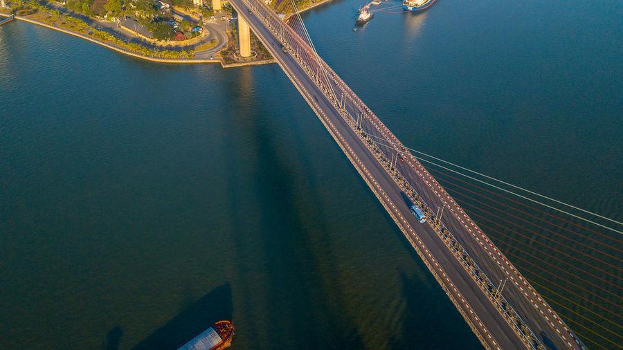 High angle view of bridge over sea